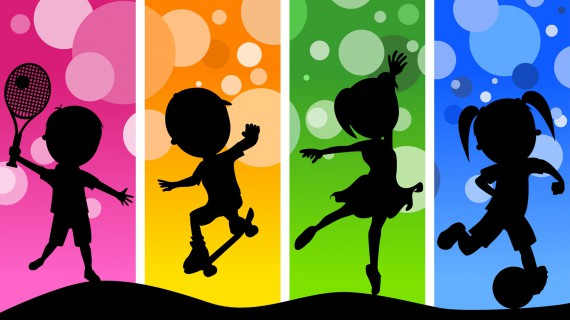 kids silhouettes playing different sports on a funky and colorful background